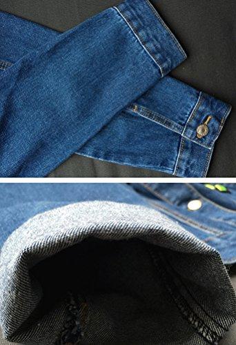 Veste Breasted Zhiyuanan Blouson Fonc Tridimensionnel Bleu Manches Manteau Femme Single Jean Denim Baggy Broderie Longues Lapel XXqptS