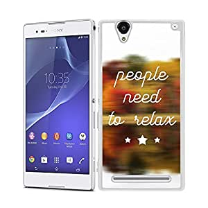 Funda carcasa para Sony Xperia T2 frase People need to relax borde blanco
