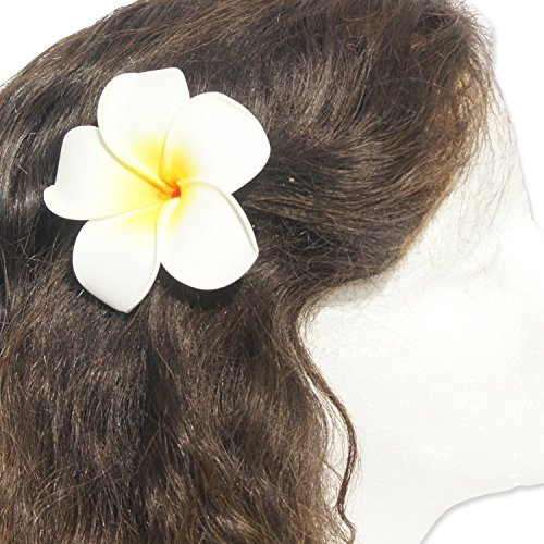 (DreamLily Women's Fashion 3 Pcs Hawaiian White Plumeria Flower Foam Hair Clip Balaclavas for Beach (White))