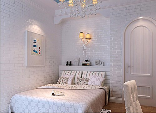 Removable Peel And Stick 3D White Brick Wallpaper Mural