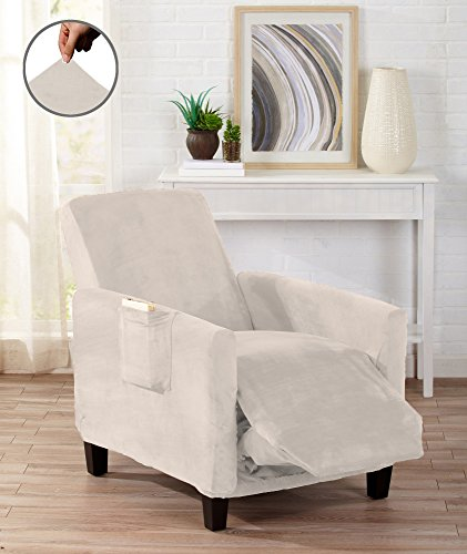 Great Bay Home Modern Velvet Plush Strapless Slipcover. Form Fit Stretch, Stylish Furniture Cover/Protector. Gale Collection by Brand. (Recliner, Silver Cloud) (Suede Chair Polyester)