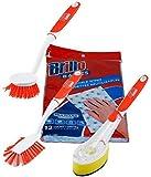 Brillo Dishwashing Supplies Scrubbing Brushes Reusable Wipes Soap Dispensor Brush Multipurpose Pot Pan Scrubber Bundle of 4