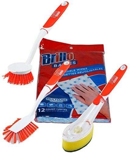Brillo Dishwashing Supplies Scrubbing Brushes Reusable Wipes Soap Dispensor Brush Multipurpose Pot Pan Scrubber Bundle of 4