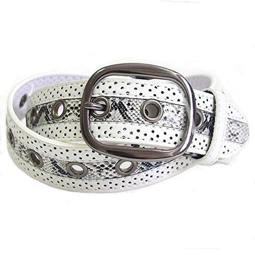 Belton Men's casual belt Embossed Snake Synthetic White