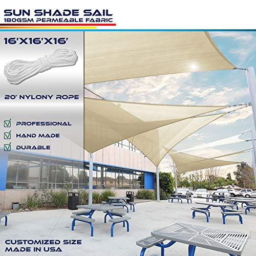 Windscreen4less 16' x 16' x 16' Sun Shade Sail Canopy in Beige with Commercial Grade (3 Year Warranty) Customized Sizes Available from Windscreen4less