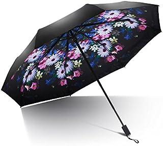 Parapluie pliant Homme Femme Automatique resistan- Protection UV en Plastique Noire de Protection Solaire de Parapluie Se Pliant des Hommes des Femmes