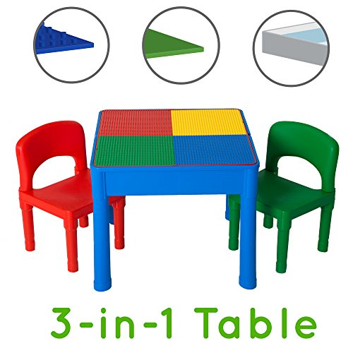 Kids Activity Table Set - 3 in 1 Water Table, Craft Table and Building Brick Table with Storage - Includes 2 Chairs and 25 Jumbo Bricks - Primary Colors (Table Chairs And Storage With)