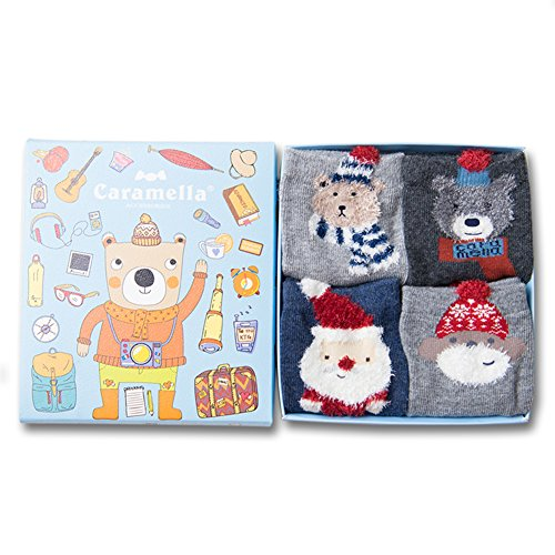 HaloVa Unisex Baby Kids Socks Little Boys Girls Cartoon Cotton Sock Set, 4 Pairs supplies