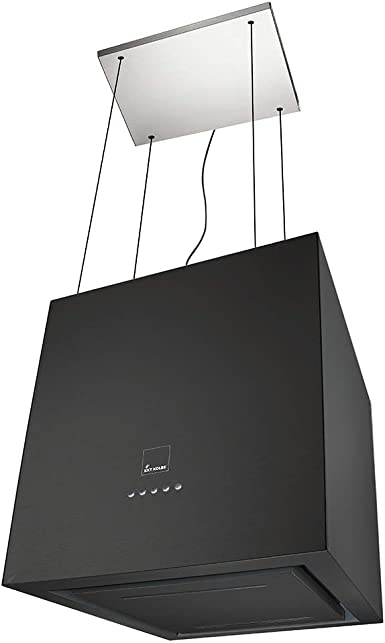 KKT KOLBE ART405S Design - Capucha para isla (serie Zero, con mando a distancia, capucha para isla de diseño, superficie luminosa, cristal, cuerpo de acero inoxidable, iluminación LED, color negro y sistema