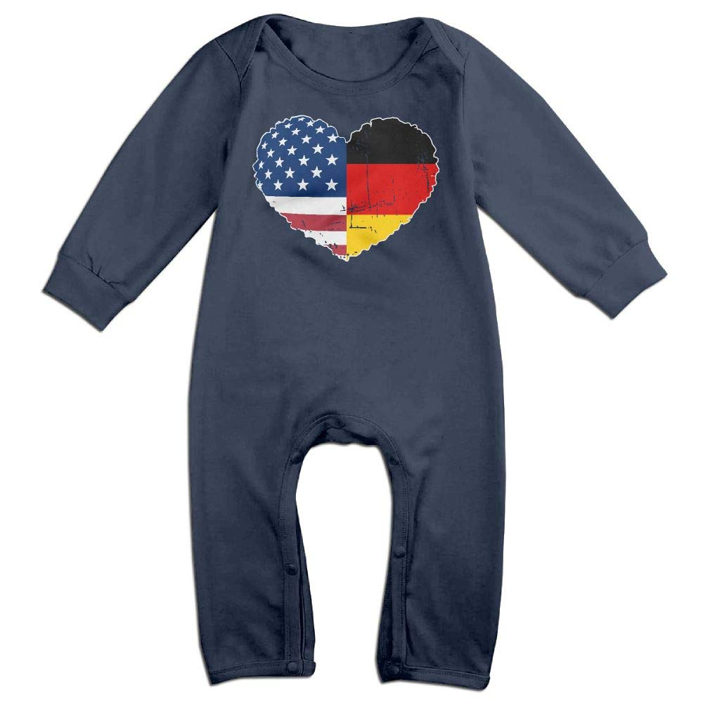 Mri-le1 Newborn Baby Long Sleeve Jumpsuit German USA Flag Heart Baby Rompers