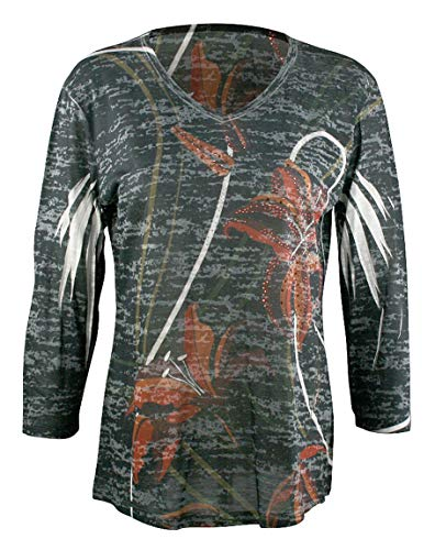 Top V-neck Sublimation - Jess & Jane - Lily Trio, 3/4 Sleeve V-Neck Lightweight Sublimation Print Burnout Top