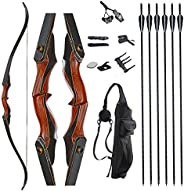 TOPARCHERY Traditional Recurve Bow 55'' Archery Hungarian Style Longbow Horsebow 3
