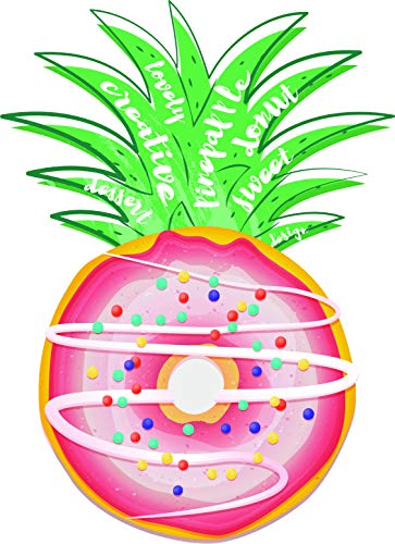 Pink Glazed Donut with Sprinkles Within Pineapple Design Vinyl Sticker (4