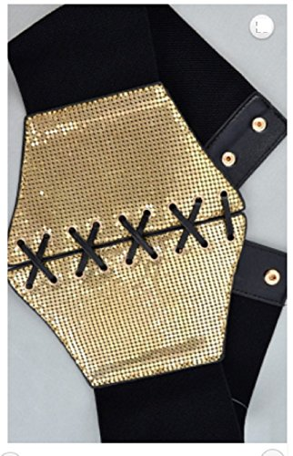 Metal Mesh Lace Up Corset Elastic Thick Belt (Gold) by Love My Seamless (Image #1)