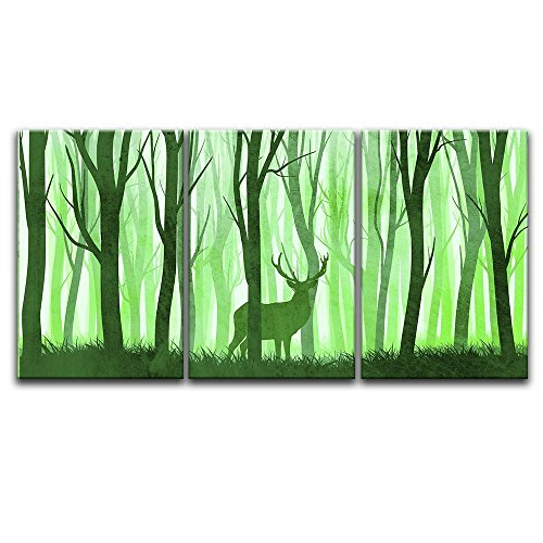 3 Panel Animal Watercolor Painting Style Deer in Green Woods x 3 Panels