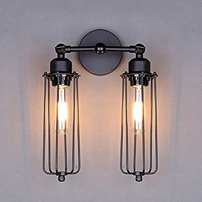 NAVIMC Industrial Wall Light Lamp, Adjustable Double Heads Wall Sconce E27 Socket Wall Lighting Fixture