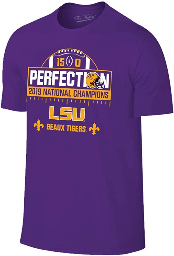 Elite Fan Shop LSU Tigers National Championship Champs Perfection Tshirt 2019-2020 Schedule Purple