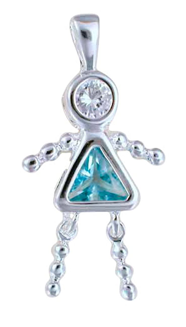 Sterling Silver Womens 1mm March Simulated Birthstone Girl Baby Pendant Necklace
