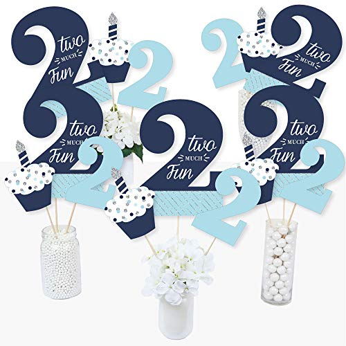 2nd Birthday Boy - Two Much Fun - Second Birthday Party Centerpiece Sticks - Table Toppers - Set of 15 (Centerpieces For Boy Birthday)