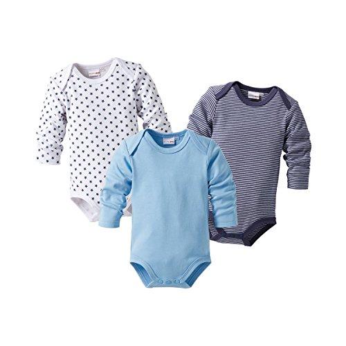 BORNINO 3er-Pack Bodys langarm Baby, Größe 98/104, blau
