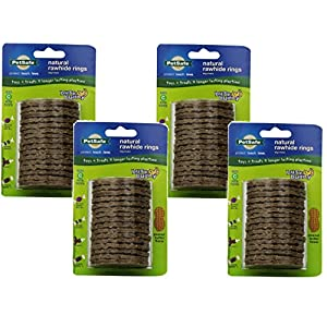 (4 Pack) PetSafe Busy Buddy Refill Ring Dog Treats for select Busy Buddy Dog Toys, Peanut Butter Flavored Natural Rawhide, Size C