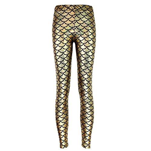 n Dragon Scale Leggings Stretch Tight Pants L (Gold Dragon Pants)