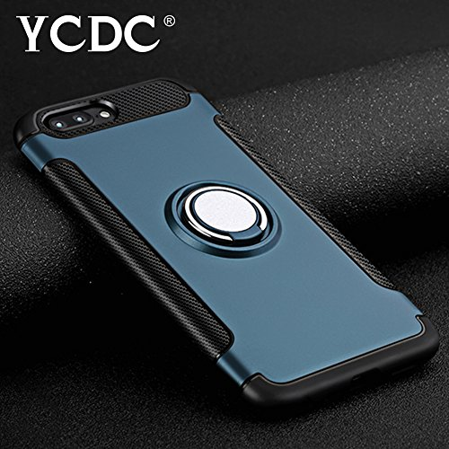 For iPhone 8 Plus Case Blue Cover With Rotational Finger Ring Holder 5.5 ()