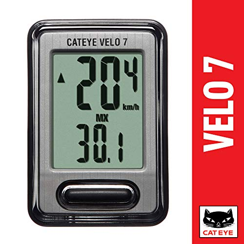 CAT EYE - Velo 7 Bike Computer - Speedometer and Odometer - Optional Headlight and Tail Light