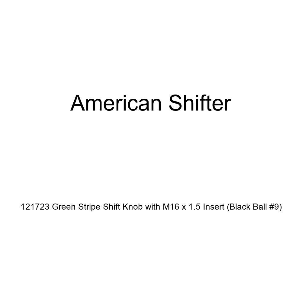 Black Ball #9 American Shifter 121723 Green Stripe Shift Knob with M16 x 1.5 Insert