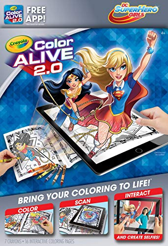 (DC Super Hero Girls Crayola Color Alive 2.0 Interactive Coloring Book, Crayons and Mobile App Set)