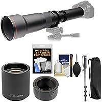 Vivitar 650-1300mm f/8-16 Telephoto Lens with 2x Teleconverter (=2600mm) + Monopod + Filter Kit for Samsung Galaxy NX, NX1, NX30, NX300, NX3000 Camera