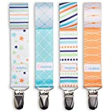 PACIFIER CLIP BOYS by Liname - 4 Pack - Premium Quality Universal Pacifier Clips - Modern 2-Sided Stylish Design - Soothie Pacifier Holder
