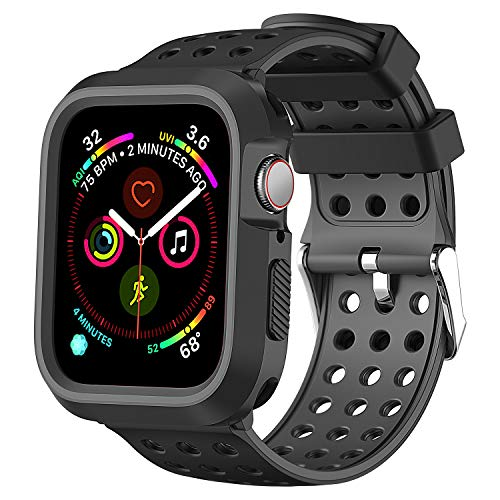 Greatfine Compatible for Apple Watch Band 44mm 40mm with Case, Shock-Proof Protective Case Silicone Sport Replacement iWatch Band 44mm Compatible with Apple Watch Series 4 (Black Gray, 44mm)