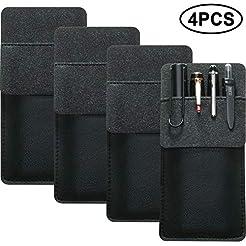 4 Packs Black Leather Pocket Handmade Pr...