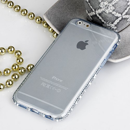 EGO® TPU Case Cover Étui en silicone Bling Rhinestone Case Diamond Cover voor de iPhone 6/6S Plus Blue Transparent Shiny Shell ultradunne Case