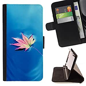 DEVIL CASE - FOR LG G2 D800 - autumn maple leaf water osen - Style PU Leather Case Wallet Flip Stand Flap Closure Cover