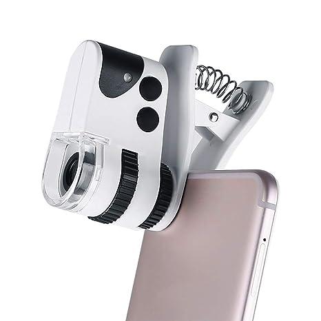 Microscopio Lupa De Teléfono Móvil Clip UV LED Luces 60x Lupa de bolsillo