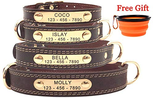 Premium Personalized Custom Leather Dog Collar with Engraved Nameplate ID Tags/Soft Touch Heavy Duty Genuine Leather/Adjustable Perfect for Male Female Small Medium Large Dogs-M