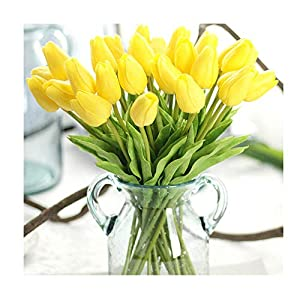 Artificial Flowers Real Touch PU Mini Tulips Artificial Plants for Wedding Bouquet Living Room Home Hotel Party Christmas Decoration and Holiday, Vase Not Included 1