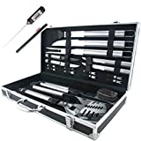 Teikis® 19-Piece Deluxe Stainless Steel BBQ Tool Set With Storage Case – Includes Spatula with Bottle Opener, Fork, Tongs, Knife, grill&Basting Brush, Steak Knives, Corn Holders, Digital Thermometer and Storage Case