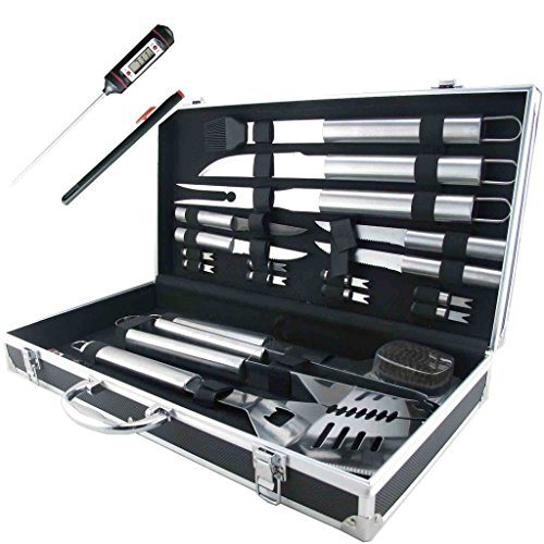 19 Piece Barbeque Set (Teikis 19-Piece Grilling Accessories BBQ Tool Set Stainless Steel Storage Case + Thermometer)