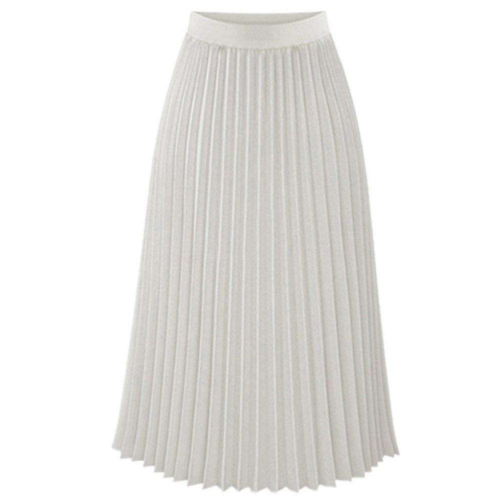 ESHOO Femmes Robes Longue Taille Elastique Jupe en Mousseline de Soie Plissé
