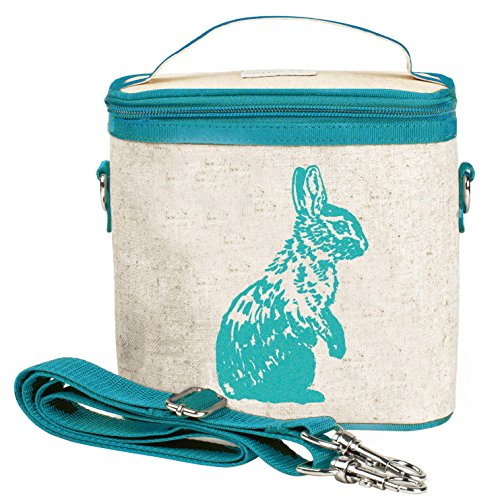 SoYoung Small Cooler Bag - Lunch - Raw Linen, Eco-Friendly, Retro-Inspired and Easy to Clean (Aqua Bunny)