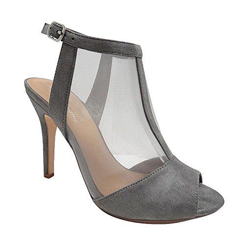 De Blossom Collection Womens Dressy Classic Mesh and Vegan Suede Peep Toe High Heel Slingback Dress Bootie Black Grey 5xymwIHh9