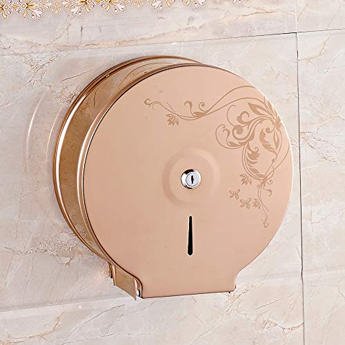 YJ YANJUN Stainless Steel Jumbo Toilet Tissue Dispenser -Rose Gold Glossy - 9 Inch Roll with 2.5 Core ()