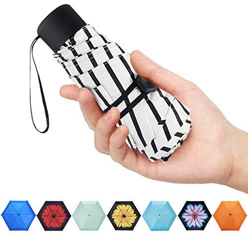 - Fidus Mini Compact Sun&Rain Travel Umbrella - Lightweight Portable Outdoor Golf Umbrella with 95% UV Protection-Stripe White-3
