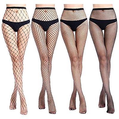 Women's 4 Pairs Fishnet Stockings High Waist Tights Sexy Sheer Mesh Patterned Fishnet Leggings Net Pantyhose at Women's Clothing store