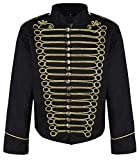 Ro Rox Men's Punk Officer Military Drummer Parade Jacket - Black & Gold (Men's XL)