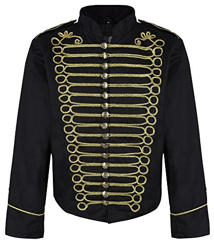 Jimi Hendrix Jacket (Ro Rox Men's Punk Officer Military Drummer Parade Jacket - Black & Gold (Men's)