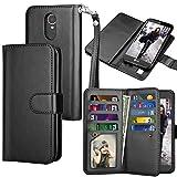 LG K20 V Case, LG K20 Plus Wallet Case, LG Harmony/LG Grace/LG V5/K10 2017 PU Leather Case, Tekcoo Luxury Cash Credit Card Slots Holder Flip Cover [Detachable Magnetic Hard Case] - Black
